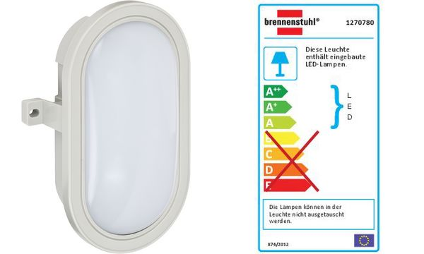 brennenstuhl LED-Ovalleuchte L DN 3002 IP44, grau, 5,5 Watt