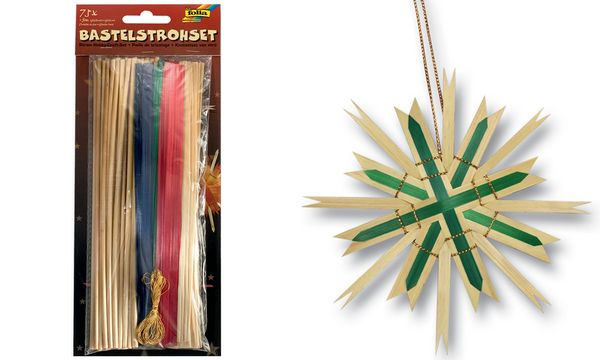 folia Bastelstroh-Set, 75-teilig, Bastelhalme + Goldkordel