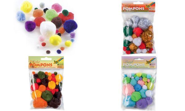 folia Pompons, 30 Stück, Weihnachtsfarben