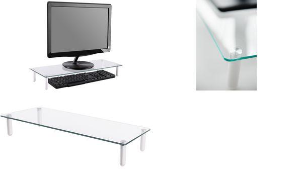 DIGITUS Monitorständer, Glas, weiß
