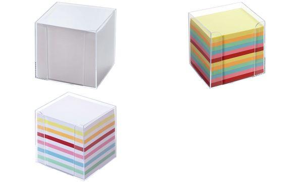 folia Zettelbox, Kunststoff, glasklar, Füllung: weiß