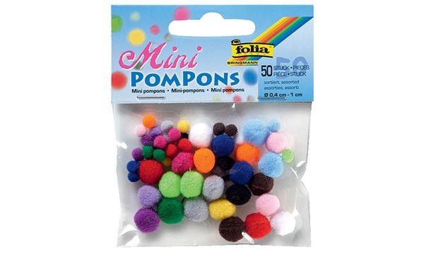 folia Mini-Pompons, 50 Stück, farbig sortiert
