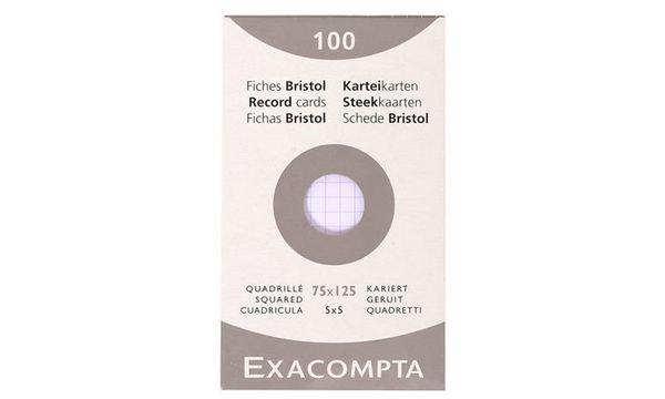 EXACOMPTA Karteikarten, 75 x 125 mm, kariert, weiß