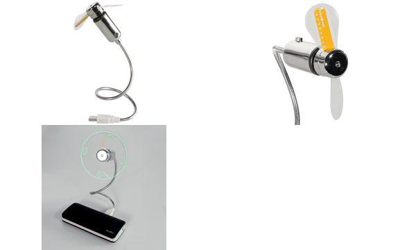 LogiLink USB-Ventilator mit Uhrzeitanzeige, silber