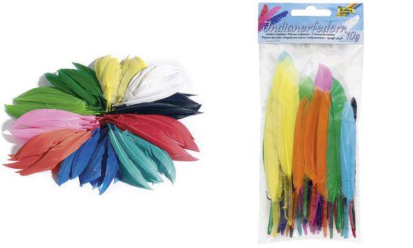 folia Indianerfedern, 10 g, farbig sortiert