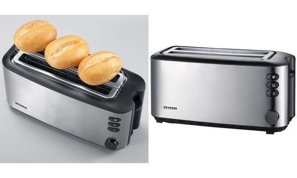 SEVERIN 4-Scheiben-Toaster AT 2509, Edelstahl / schwarz