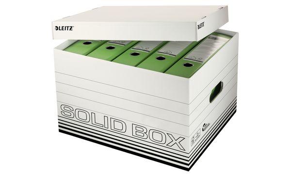#10xLEITZ Archiv-/Transportbox Solid, weiß/schwarz