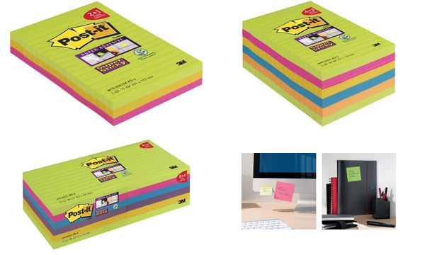 Post-it Haftnotizen Super Sticky Notes, liniert, 101x152 mm