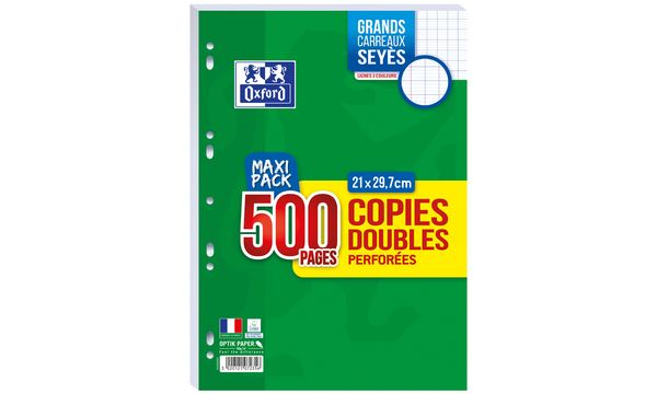 Oxford Copies doubles perforées, A4, seyès, MAXI PACK