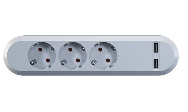 Bachmann Steckdosenleiste SMART, 3-fach, 2 x USB