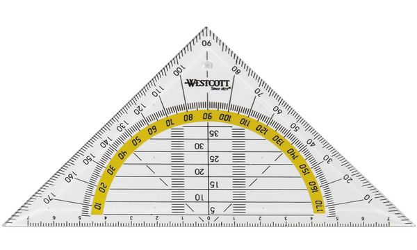 WESTCOTT Geodreieck, Hypotenuse: 140 mm, transparent