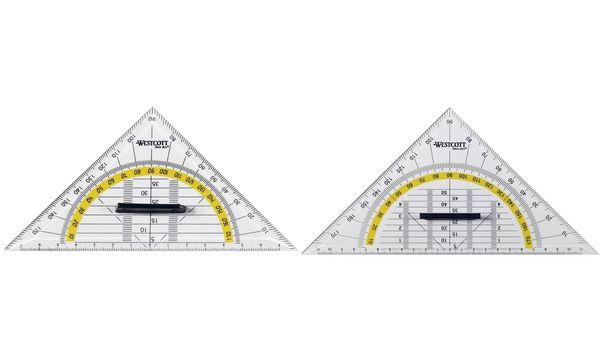 WESTCOTT Geodreieck, Hypotenuse: 140 mm, mit Griff