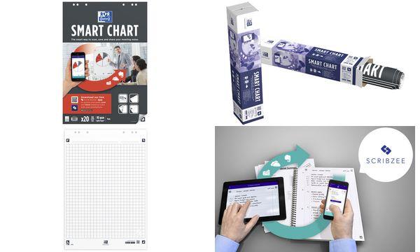 #3xOxford Flipchart-Block Smart Chart, 20 Blatt, blanko