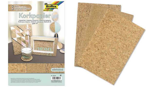 folia Korkpapier, 200 x 300 mm, selbstklebend, braun