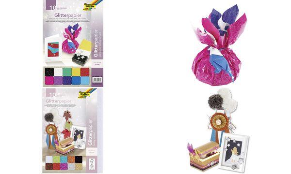 folia Glitterpapier, 170 g/qm, 240 x 340 mm, farbig sort...