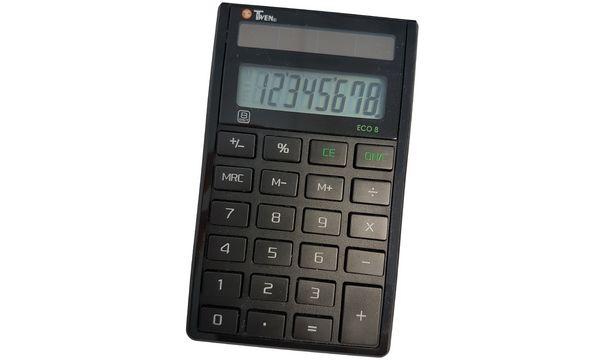 TWEN Taschenrechner ECO 8, 8-stelliges LC-Display, Solar