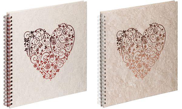 PAGNA Hochzeits-Spiralalbum sweet heart, gold, 40 Seiten