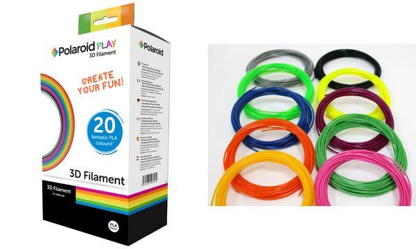 Polaroid Filament Play 3D Pen, 20 Farben sortiert