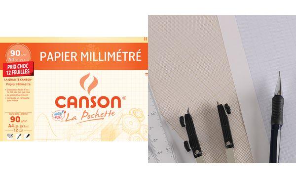 CANSON Millimeterpapier, DIN A4, 90 g/qm, Farbe: dunkelb...