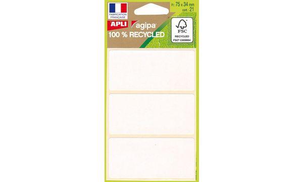 agipa Vielzweck-Etiketten, 34 x 75 mm, weiß, 100% recyce...