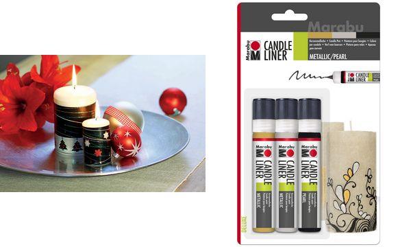Marabu Kerzenmalfarbe Candle Liner, Set Metallic