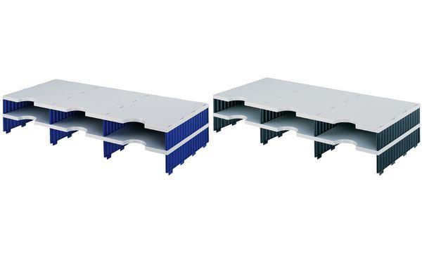 styro Aufbaueinheit styrodoc trio, 6 Fächer, blau/grau