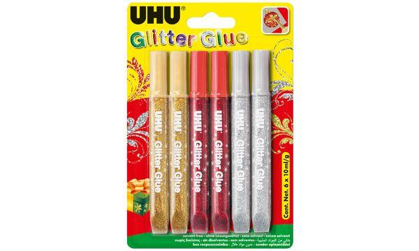 UHU Glitzerkleber Glitter Glue Festliche Farben, 6 x 1...