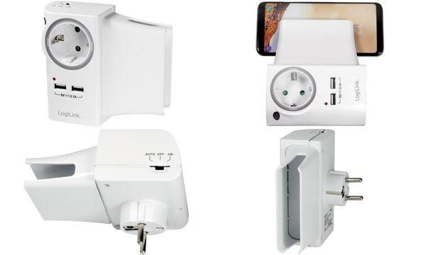 LogiLink Adapterstecker mit 2 USB-Ports & Ladeschale, weiß