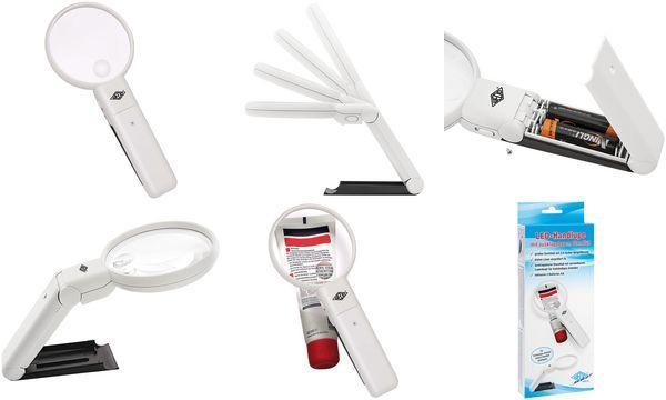 WEDO LED-Handlupe mit ausklappbarem Standfuß, schwarz/weiß