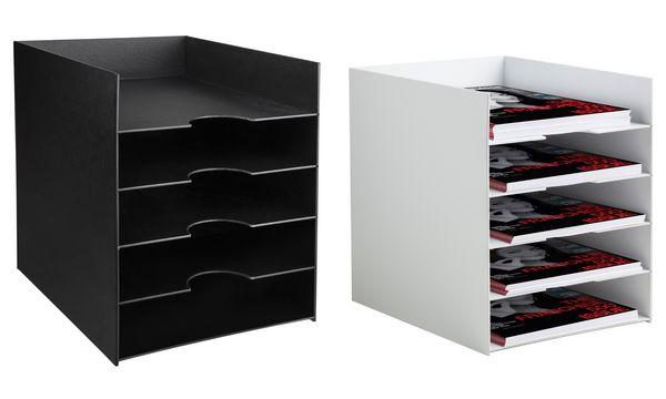 PAPERFLOW Sortierstation Formularbox, 5 Fächer, schwarz