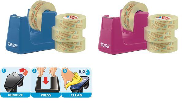 tesa Tischabroller Easy Cut Smart, pink + 4 Rollen