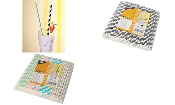 PAPSTAR Papier-Trinkhalm Stripes, 200 mm, farbig sortiert