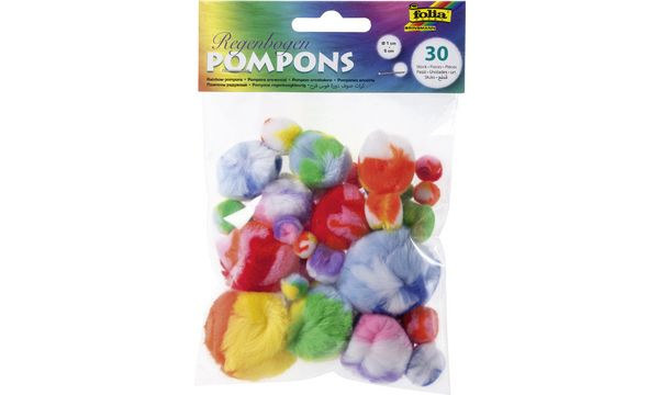 folia Regenbogen-Pompons, 30 Stück, farbig sortiert