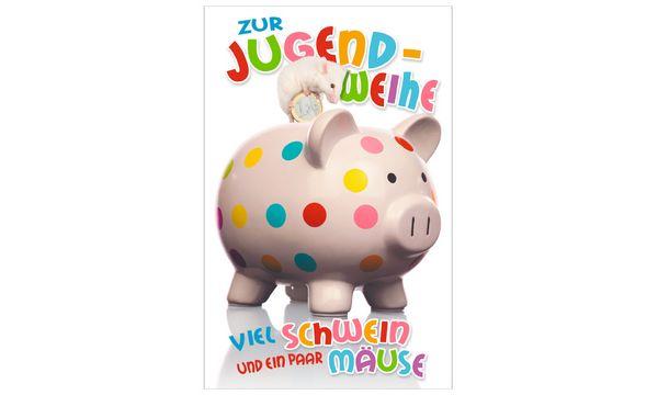 SUSY CARD Jugendweihe-Geldscheinkarte Sparschwein
