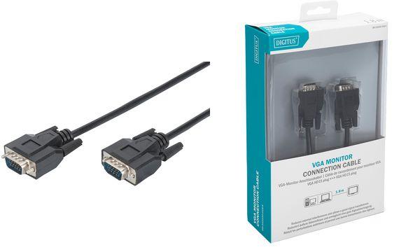 DIGITUS VGA Monitor Anschlusskabel, Stecker - Stecker, 1...