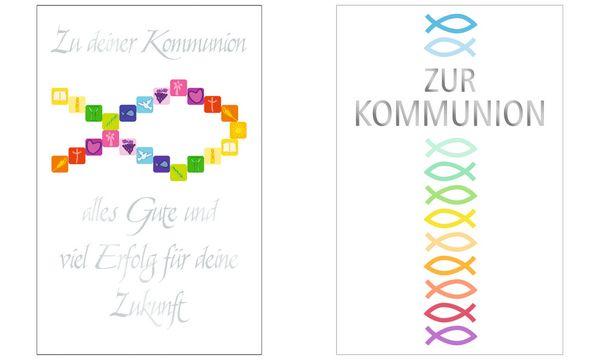 SUSY CARD Kommunionskarte Symbole Fisch