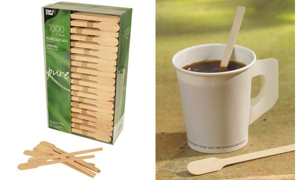 PAPSTAR Rührstäbchen pure, aus Holz, Länge: 130 mm