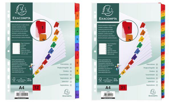 EXACOMPTA Karton-Register 1-31, DIN A4, weiß, 31-teilig