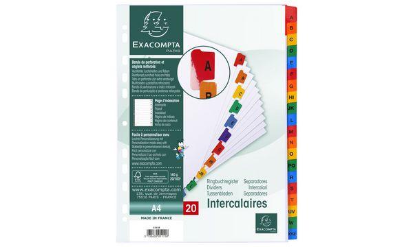 EXACOMPTA Karton-Register A-Z, DIN A4, weiß, 20-teilig