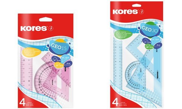 Kores Geometrie-Set GEO15, 4-teilig, farbig sortiert