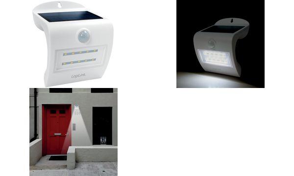 LogiLink LED-Wandleuchte mit Bewegungsmelder, Solarbetrieb