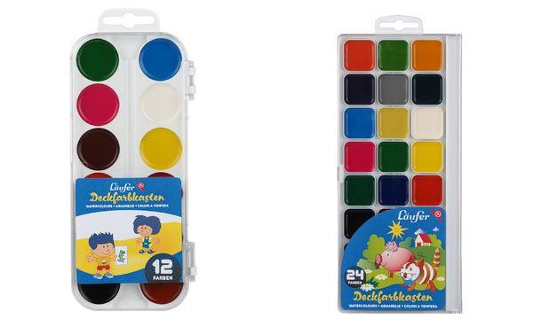 Läufer Deckfarbkasten, 12 Farben, aus Kunststoff