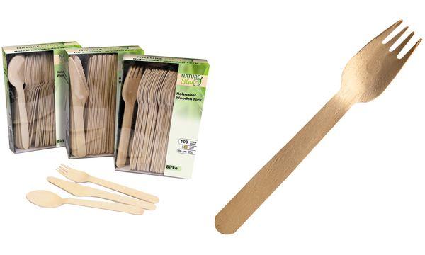 NATURE Star Holz-Gabel, aus Birkenholz, Länge: 160 mm