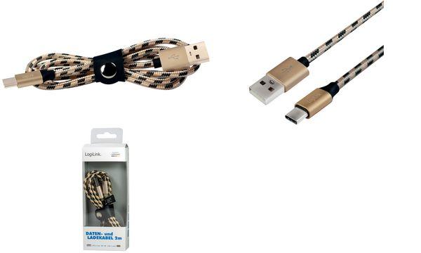 LogiLink Daten- & Ladekabel, USB-A - USB-C Stecker, 1,0 m