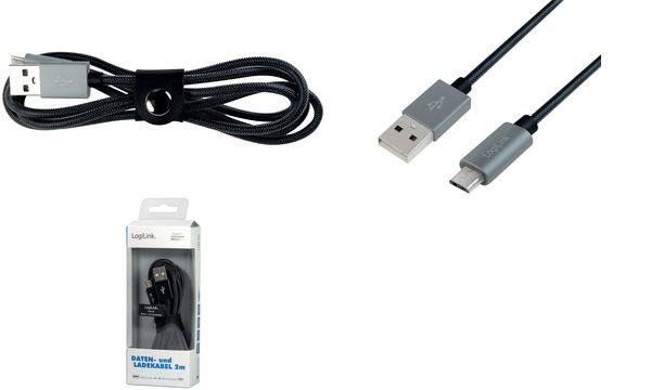 LogiLink Daten- & Ladekabel, USB - Micro USB Stecker, 1,0 m