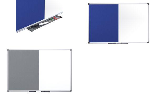 Bi-Office Kombitafel, Weißwand / Filz, grau, 600 x 450 mm