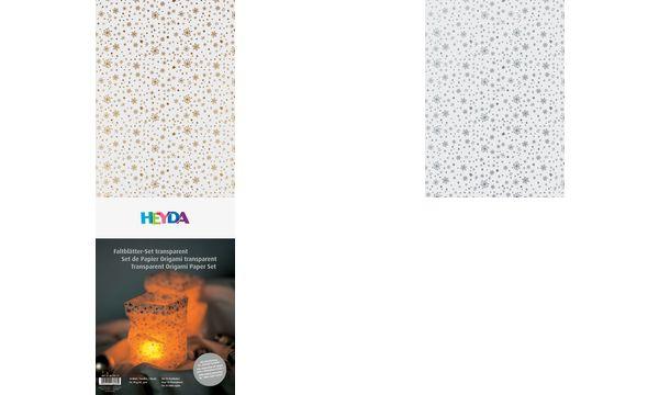 HEYDA Tischlichter-Faltblätter, transparent, Sterne gold