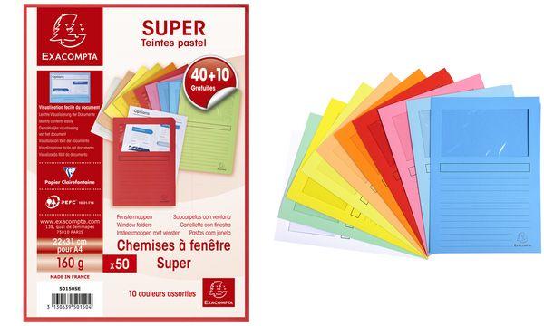 EXACOMPTA Sichtmappe SUPER, DIN A4, Promo-Pack 40+10 GRATIS