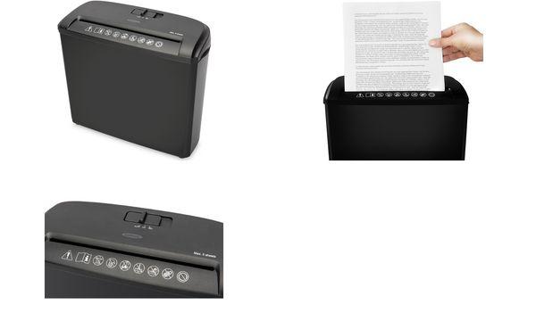 ednet Aktenvernichter S-5, Streifenschnitt: 7 mm, schwarz