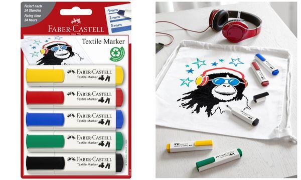 FABER-CASTELL Textilmarker, Standardfarben, 5er Blister